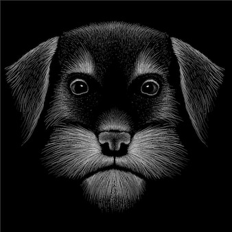 Hand getekende illustratie in krijt stijl van hond