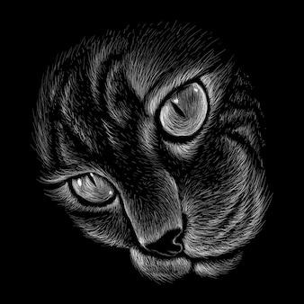 Hand getekende illustratie in krijt stijl van kat