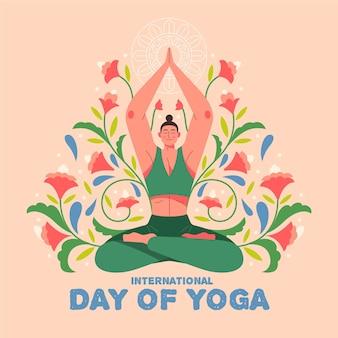 Hand getekende illustratie internationale dag van yoga