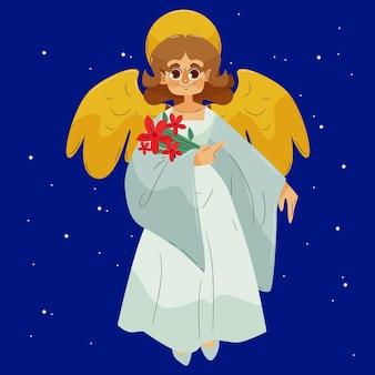 Hand getekende illustratie kerst engel