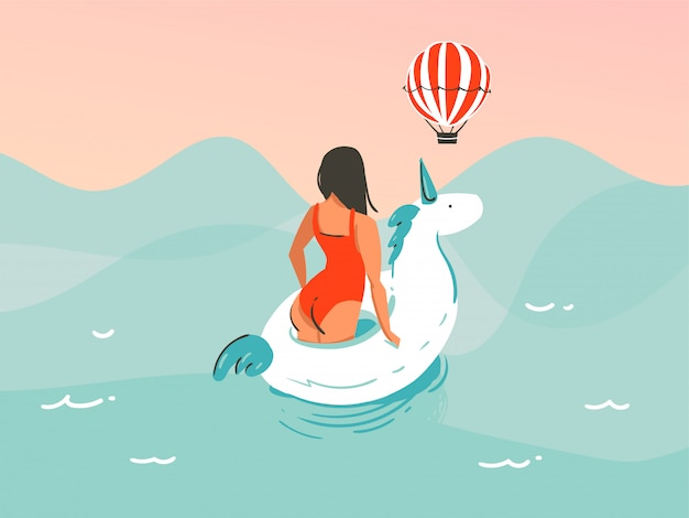Hand getekende illustratie met een meisje in een zwembroek zwemmen met een eenhoorn rubberen ring op oceaan golf achtergrond