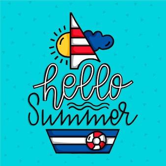Hand getekende illustratie met hallo zomer belettering naast boot