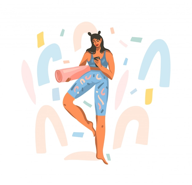 Hand getekende illustratie met jonge gelukkig vrouw met een mat voor yogales kijken naar een training op de telefoon op witte achtergrond