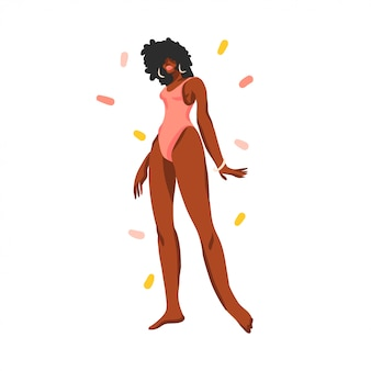 Hand getekende illustratie met jonge gelukkig zwarte strand, schoonheid vrouw in zwembroek op witte achtergrond