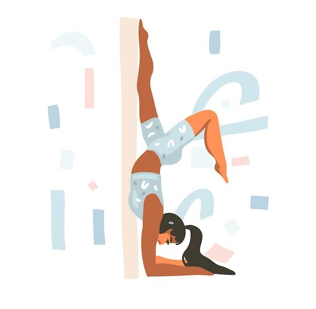 Hand getekende illustratie met jonge gelukkige vrouw yoga doet thuis op witte achtergrond