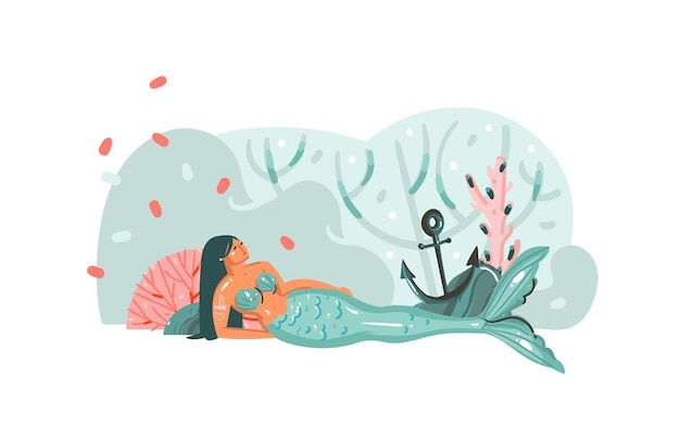 Hand getekende illustratie met koraalriffen, anker, zeewier en schoonheid boheemse zeemeermin meisje karakter
