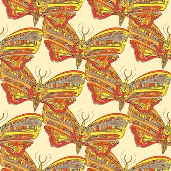 Hand getekende illustratie met vlinder - naadloos patroon