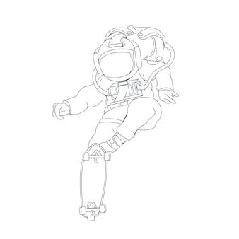 Hand getekende illustratie van astronaut skate