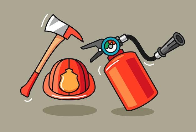 Hand getekende illustratie van brandweerman apparatuur