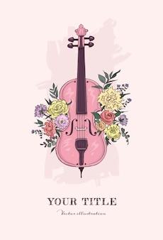 Hand getekende illustratie van cello en bloemen