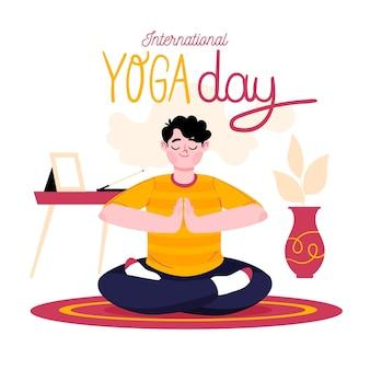 Hand getekende illustratie van de mens die yoga doet