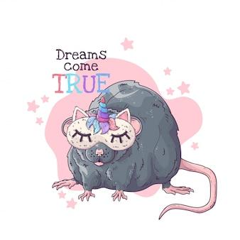 Hand getekende illustratie van de rat in een nachtmasker met een hoorn