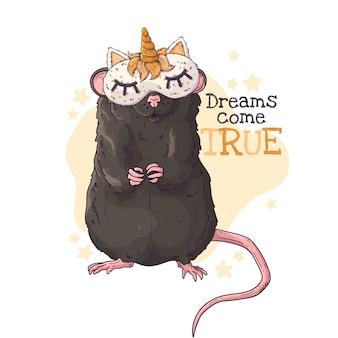 Hand getekende illustratie van de rat in een nachtmasker met een hoorn.
