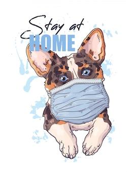 Hand getekende illustratie van de schattige hond in een medisch masker