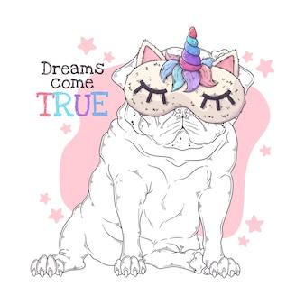 Hand getekende illustratie van de schattige pug dogin een nachtmasker