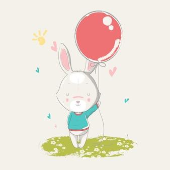 Hand getekende illustratie van een schattige baby konijn met ballonnen.