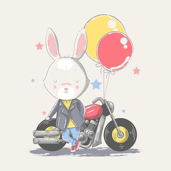 Hand getekende illustratie van een schattige baby konijntje met motorfiets.