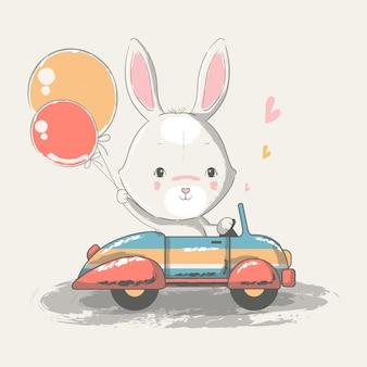Hand getekende illustratie van een schattige baby konijntje rijdende auto.