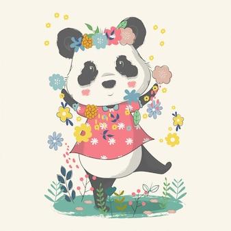Hand getekende illustratie van een schattige baby panda met bloemen.