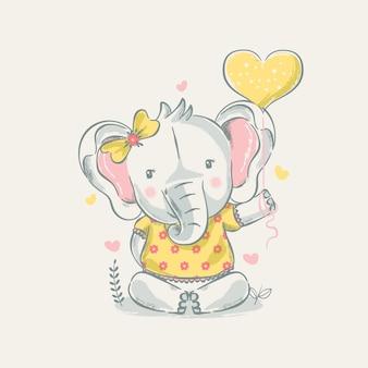Hand getekende illustratie van een schattige babyolifant met ballon.