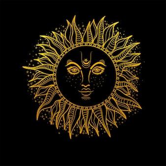 Hand getekende illustratie van golden sun. vector boho stijl element.
