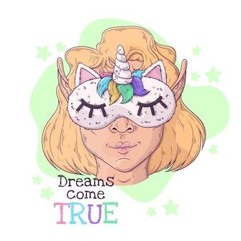 Hand getekende illustratie van het meisje in een nachtmasker met een hoorn