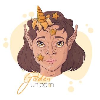 Hand getekende illustratie van het meisje met een magische eenhoornhoorn.