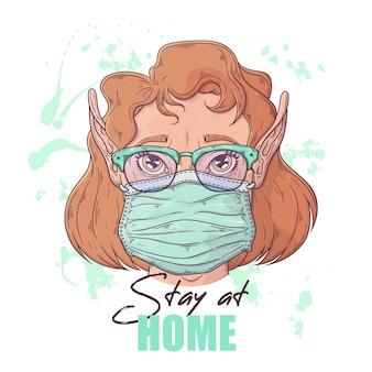 Hand getekende illustratie van het schattige meisje in een medisch masker