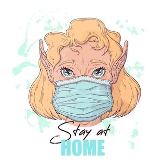 Hand getekende illustratie van het schattige meisje in een medisch masker.