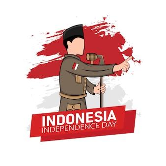 Hand getekende illustratie van indonesië onafhankelijkheidsdag wenskaart concept.