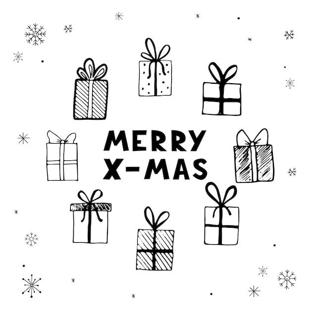 Hand getekende illustratie van kerst geschenkdozen, presenteert met merry x-mas tekst. doodle schets stijl ontwerp voor uw kaarten, stickers, pictogram. vectorillustratie getekend door inkt penseel-pen.