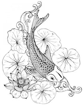 Hand getekende illustratie van koi vissen met lotusbloem