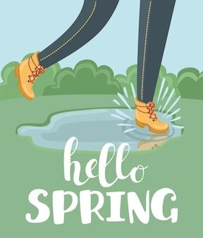 Hand getekende illustratie van laarzen en hallo lente belettering
