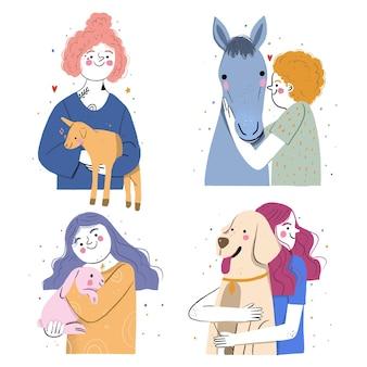 Hand getekende illustratie van mensen met huisdieren