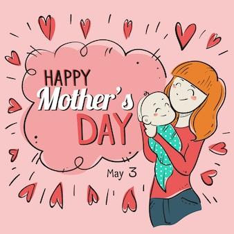 Hand getekende illustratie van moeder met baby