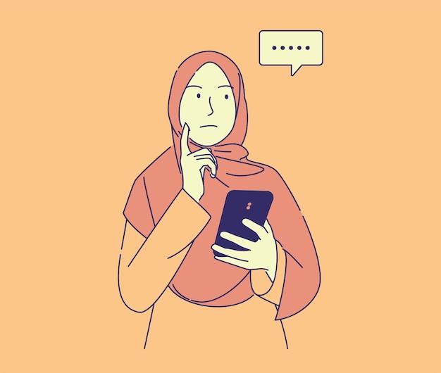 Hand getekende illustratie van mooie moslimvrouw met telefoon denken hoe chat te beantwoorden.