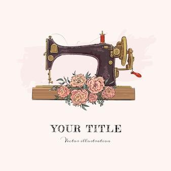 Hand getekende illustratie van naaimachine en bloemen