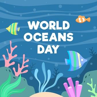 Hand getekende illustratie van oceanen dag evenement