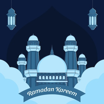 Hand getekende illustratie van ramadan kareem wenskaart.