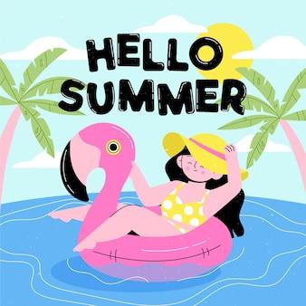 Hand getekende illustratie van vrouw op flamingo zwemmende ring