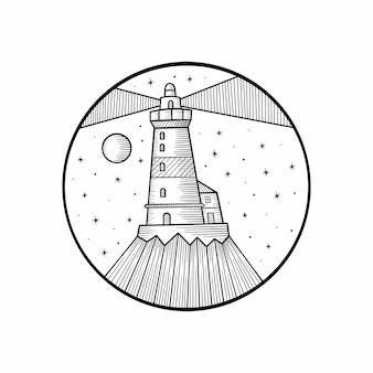 Hand getekende illustratie van vuurtoren met stralen en golven.