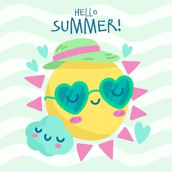 Hand getekende illustratie van zon met zonnebril