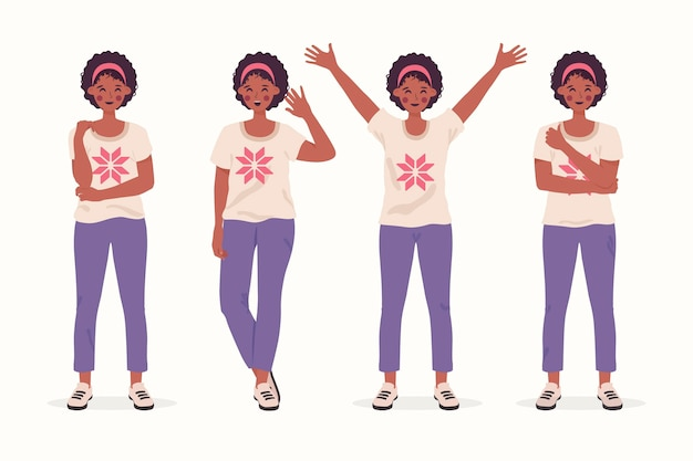 Hand getekende illustratie zwart meisje in verschillende poses