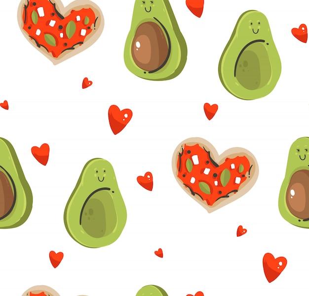 Hand getekende illustraties naadloze patroon met schattige avocado-paar, geïsoleerd op een witte achtergrond