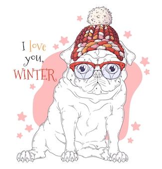 Hand getekende illustraties. portret van schattige pug dog in kerstaccessoires.