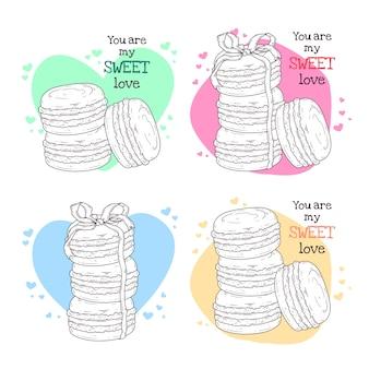 Hand getekende illustraties. realistisch frans dessert - makarons.