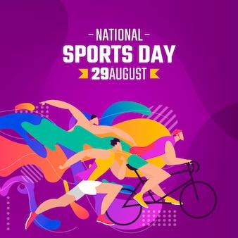 Hand getekende indonesische nationale sportdag illustratie