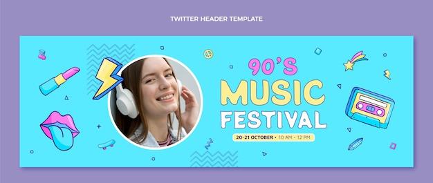 Hand getekende jaren 90 muziekfestival twitter header
