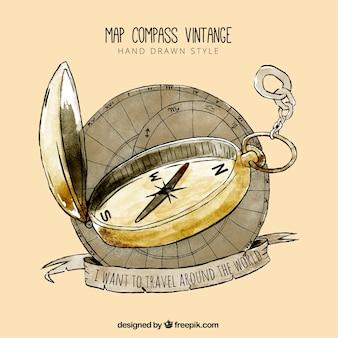 Hand getekende kaart kompas met citaat