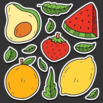 Hand getekende kawaii doodle fruit cartoon sticker ontwerp